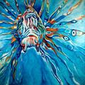 Art: LION FISH ABSTRACT COMMISSION by Artist Marcia Baldwin