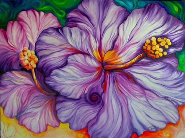 Art: PURPLE HIBISCUS FLORAL ORIGINAL by Artist Marcia Baldwin