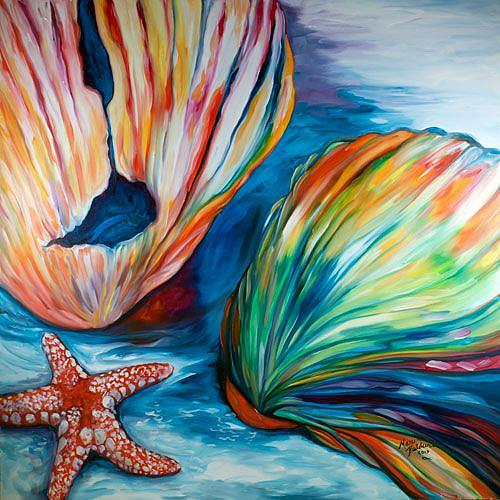 Starfish Abstract Painting Seashells amp By Marcia Baldwin