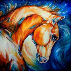 Art: STALLION ~ COMMISSIONED ORIGINAL by Artist Marcia Baldwin