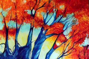 Detail Image for art FALL LANDSCAPE ABSTRACT RED TREES COMMISSIONED