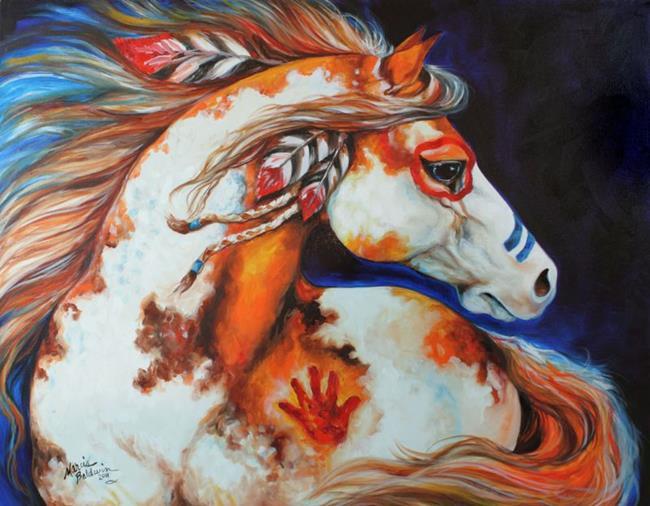 Art: SPIRIT INDIAN WAR HORSE ~ COMMISSIONED by Artist Marcia Baldwin