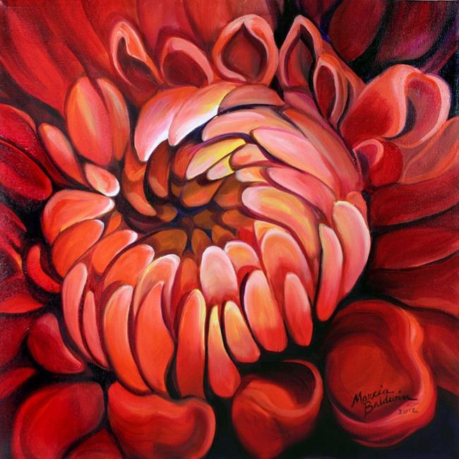 Art: RED DAHLIA 1818 by Artist Marcia Baldwin