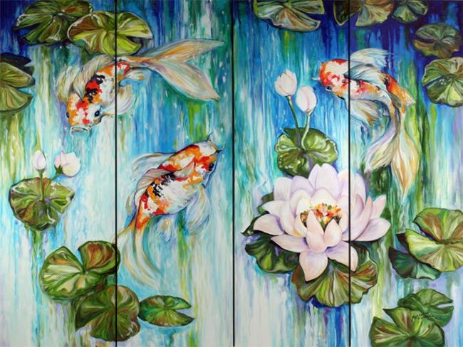 Art: KOI on 4 COMMISSIONED ~ SOLD by Artist Marcia Baldwin