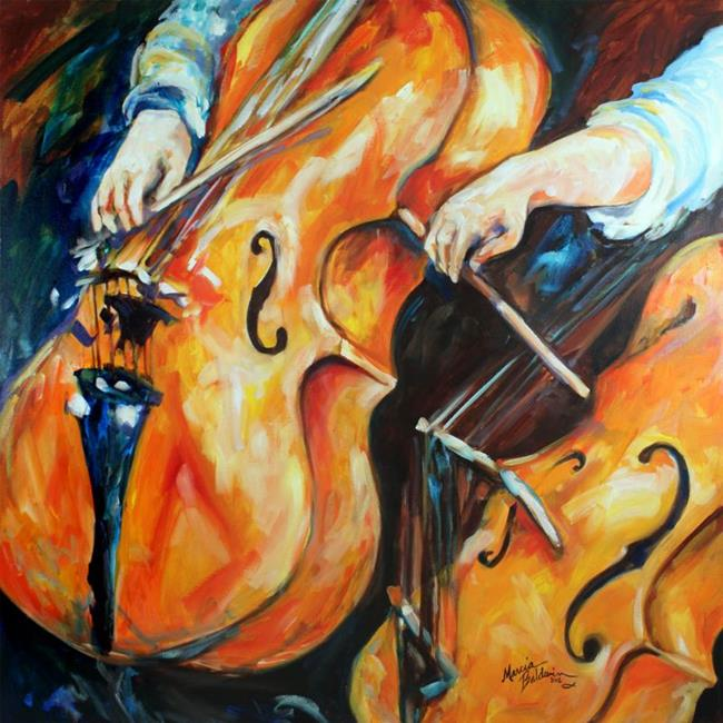 Art: CELLOS ABSTRACT COMMISSION by Artist Marcia Baldwin