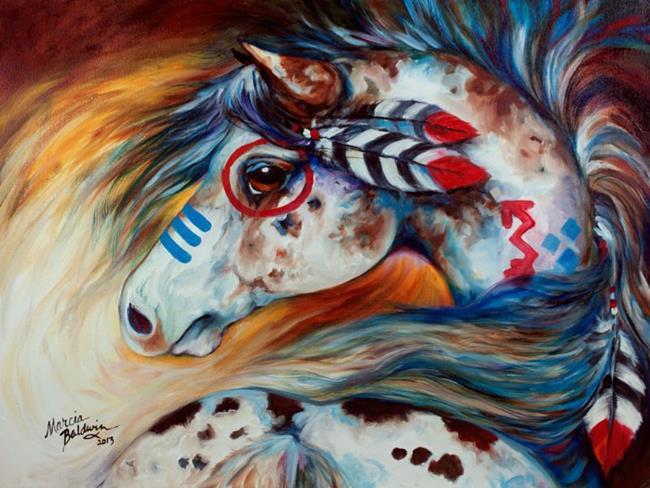 Art: SPIRIT INDIAN WAR HORSE ~ THE GIFT by Artist Marcia Baldwin