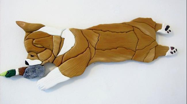 Art: CORGI 'HELLO DUCKY' ORIGINAL PAINTED ART PIECE by Artist Gina Stern