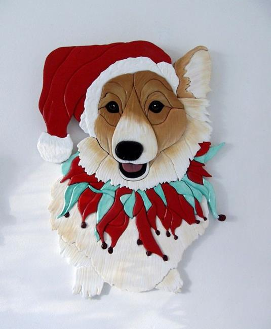 Art: CORGI SANTA ..CLAUSE by Artist Gina Stern