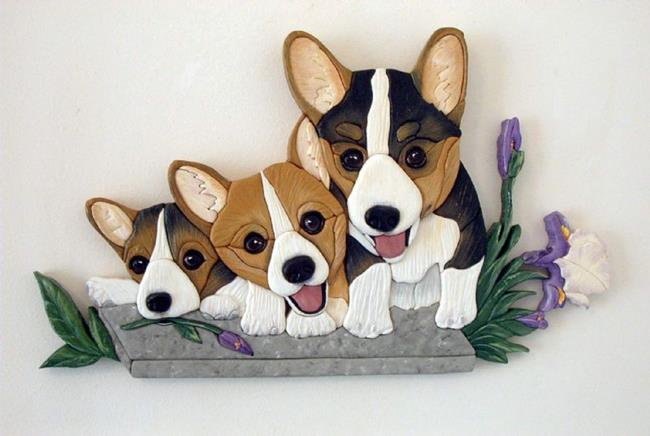 Art: CORGI TRIO ORIGINAL PAINTED INTARSIA ART by Artist Gina Stern