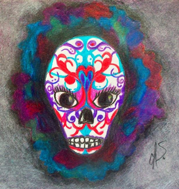 Art: Sugar Skull by Artist christi lynn schwartzkopf