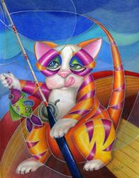 Art: Kitty Row Your Boat SOLD by Artist Alma Lee