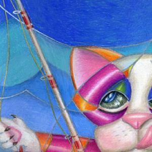 Detail Image for art Kitty Row Your Boat SOLD
