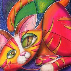 Art: Kitty in a Box (SOLD) by Artist Alma Lee
