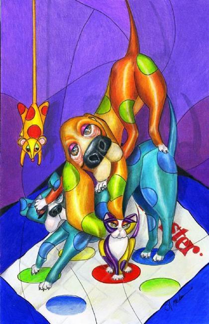 Art: Twister Game by Artist Alma Lee