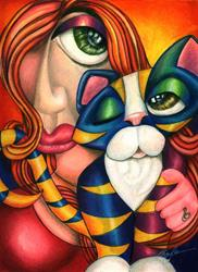 Art: Love me Love my Cat! (SOLD) by Artist Alma Lee
