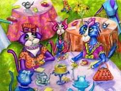 Art: Biddy Kitty Tea Party by Artist Alma Lee