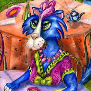 Detail Image for art Biddy Kitty Tea Party