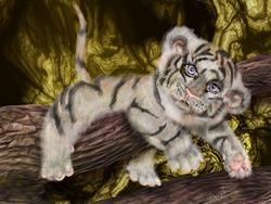Art: TIger Pause by Artist Alma Lee