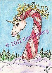 Art: 2012 Candy Cane Unicorn - SOLD by Artist Kim Loberg