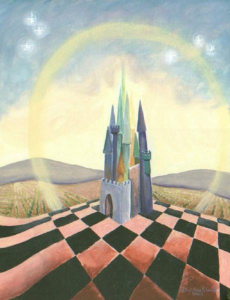 Art: Castle Pink/Black Chessboard    by Artist Cynthia Schmidt