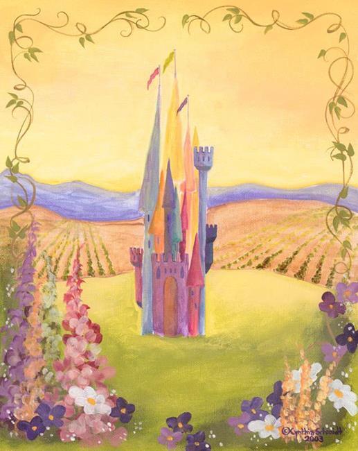 Art: Fairy Tale Castle with Garden   by Artist Cynthia Schmidt