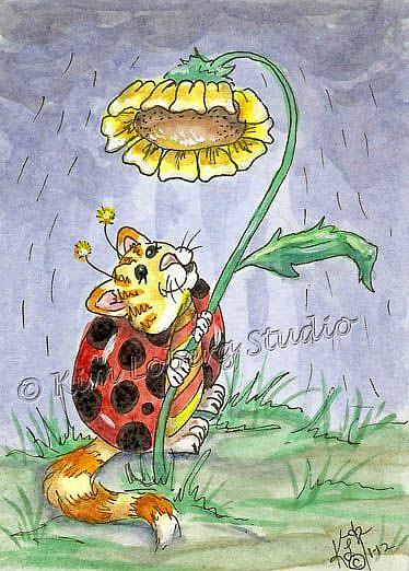 Art: Cat A Bug's Umbrella SOLD by Artist Kim Loberg