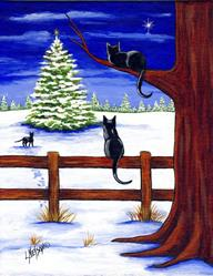 Art: Three Barn Cats and a Christmas Tree Painting by Artist Lisa M. Nelson