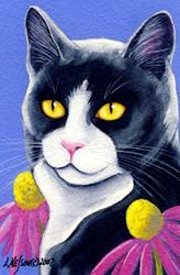 Art: Tuxedo Cat in the Garden OSWOA by Artist Lisa M. Nelson