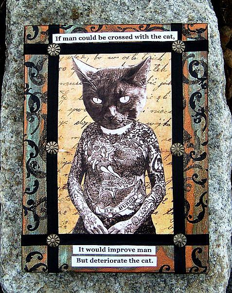 Art: Goth Tatooed Cat Collage by Artist Lisa M. Nelson