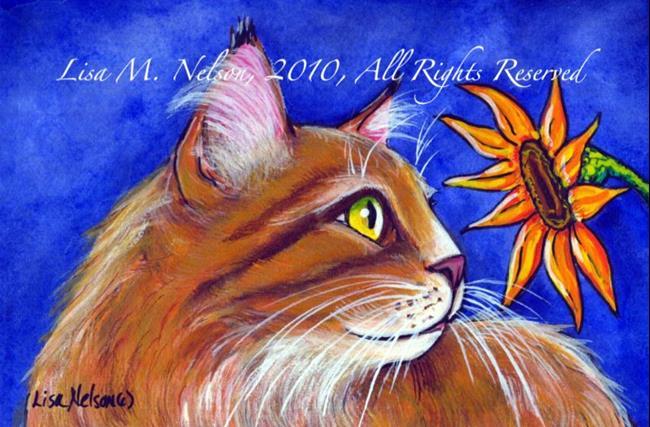 Art: Maine Coon Cat and Sunflower by Artist Lisa Monica Nelson