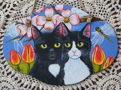 Art: Two Cats in the Garden by Artist Lisa M. Nelson