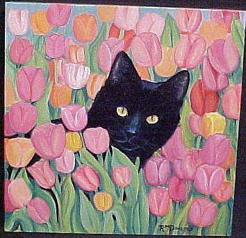 Art: Tulip Cat by Artist Rosemary Margaret Daunis