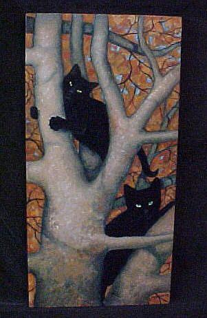 Art: Cats Up A Tree by Artist Rosemary Margaret Daunis