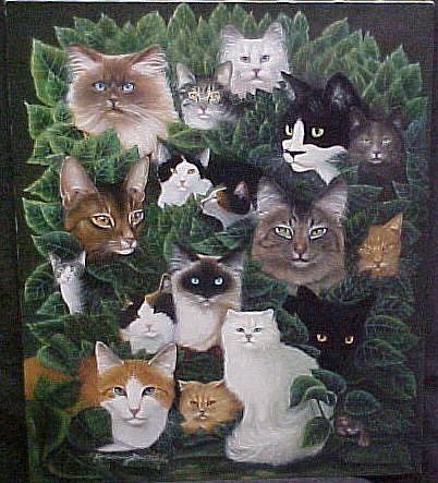 Art: 18 Cats Painting Print by Artist Rosemary Margaret Daunis