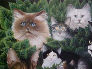 Detail Image for art 18 Cats Painting Print