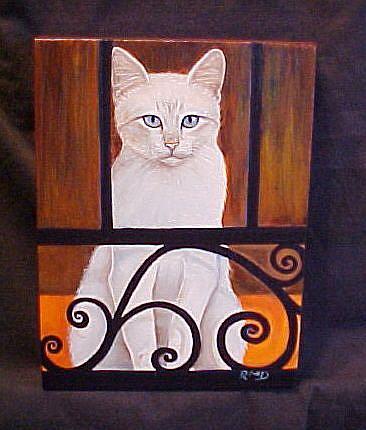 Art: Balcony Cat by Artist Rosemary Margaret Daunis