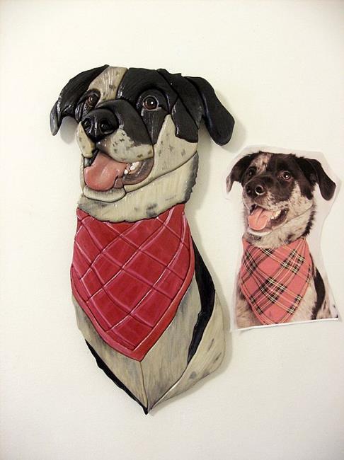 Art: Catahoula Dog, Original Painted Intarsia Art by Artist Gina Stern