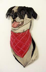 Detail Image for art Catahoula Dog, Original Painted Intarsia Art