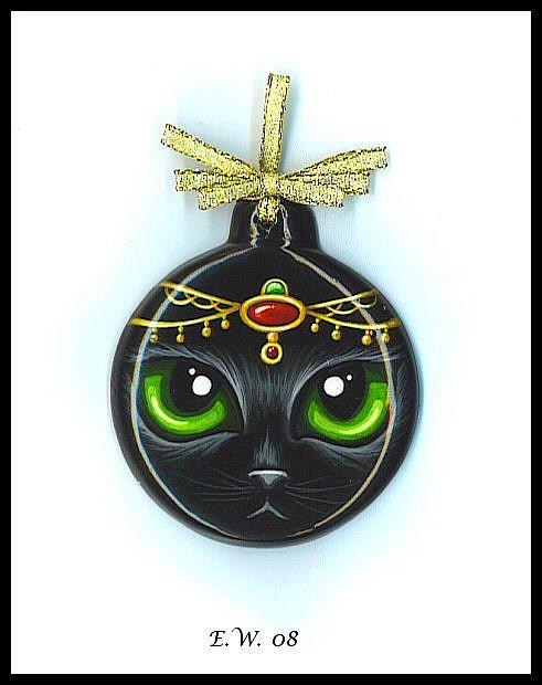Art: Ruby & Emerald Jeweld Kitty Ornament by Artist Elaina Wagner