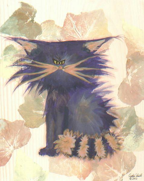 Art: Purple Cranky Cat   by Artist Cynthia Schmidt