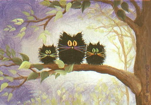 Art: Scaredy Cats in a Tree   by Artist Cynthia Schmidt