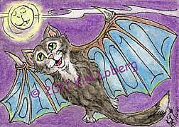Art: 2012 Tuxedo Bat Cat - SOLD by Artist Kim Loberg