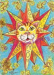 Art: 2012 Solar Flare Sun Cat - SOLD by Artist Kim Loberg