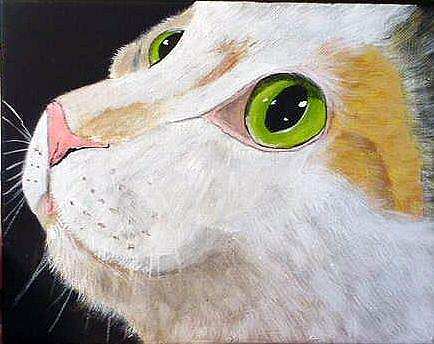 Art: Calico Cat Face by Artist Dia Spriggs