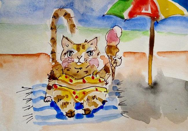 Art: Beach Cat by Artist Delilah Smith