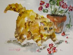 Art: Fat Cat and Geraniums by Artist Delilah Smith