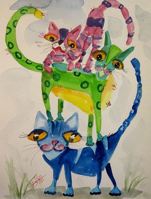 Art: Pile of Kittens-sold by Artist Delilah Smith
