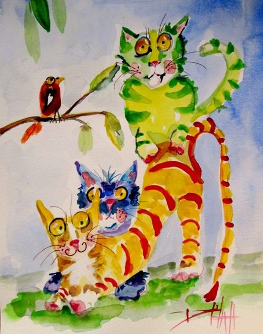 Art: Colorful Cats by Artist Delilah Smith