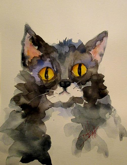 Art: Big Eyed Cat by Artist Delilah Smith
