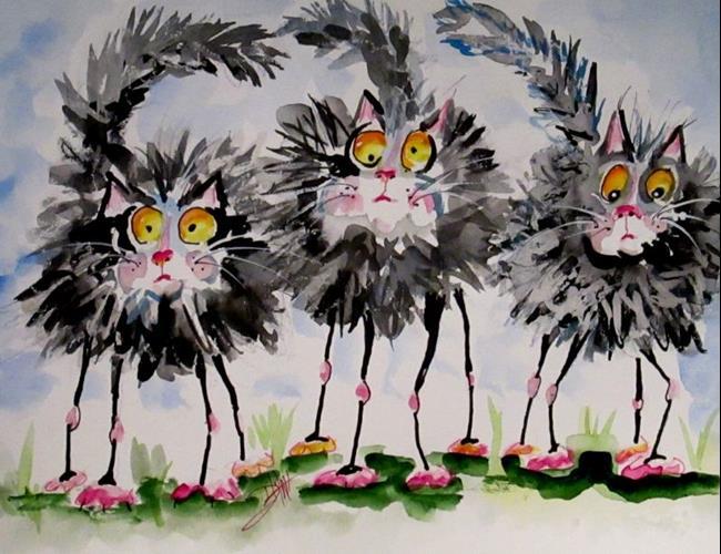Art: Long Legged Cats by Artist Delilah Smith
